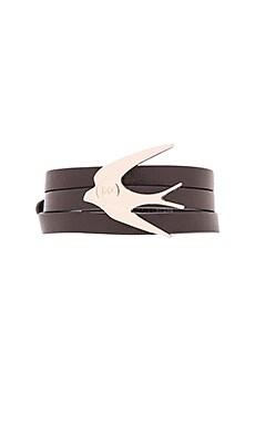 McQ Alexander McQueen Swallow Triple Wrap Bracelet in Black