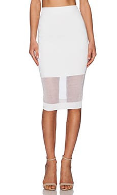 McQ Alexander McQueen Solid & Sheer Skirt in Optic White