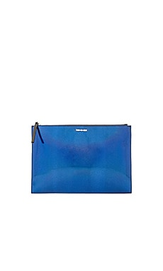 McQ Alexander McQueen Kicks Clutch in Hologram Blue