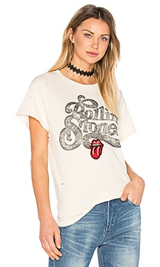 Rolling Stones Patch Tee in Dirty White