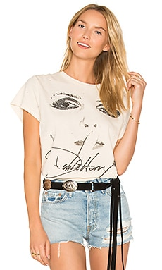 x REVOLVE Debbie Harry Tee in Off White & Black Glitter