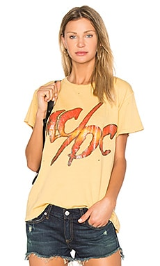 x REVOLVE ACDC Tee in Washed Yellow & Orange Glitter