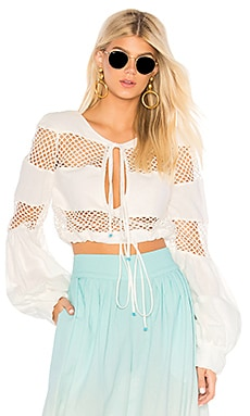 Gustavia Lace Stripes Top A Mere Co. $78