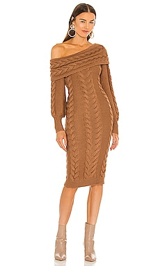 x REVOLVE Celestia Off Shoulder Cable Dress Michael Costello $348