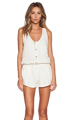 MERRITT CHARLES Mex Button Up Romper in Creme