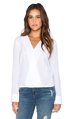 MERRITT CHARLES Eloise Cross Over Blouse in Optic White