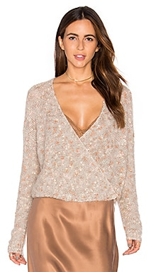 Plumage Wrap Sweater in Rose