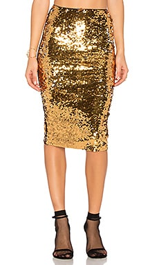 Rita Sequin Skirt in Gold