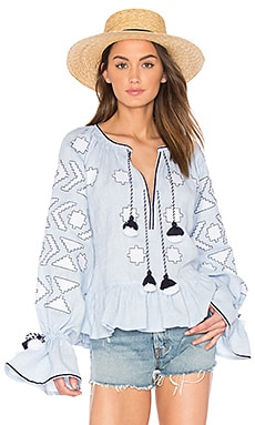 Long Sleeve Star Embroidered Blouse