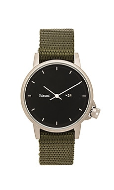 Miansai M24 II Black Nylon Watch in Hunter Green