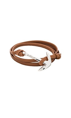 Miansai Silver Anchor On Leather in Brown