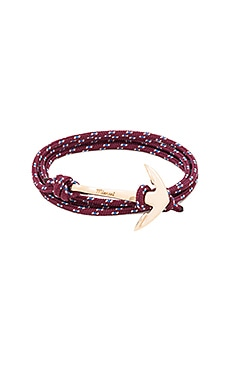Miansai Gold Anchor On Rope in Burgundy