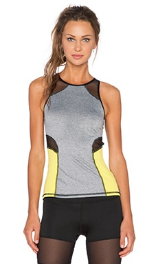 MICHI by Michelle Watson Chameleon Tank in Light Heather Grey & Acid Yellow