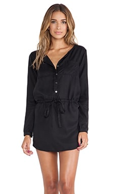 Michael Stars Button Down Shirt Dress in Black