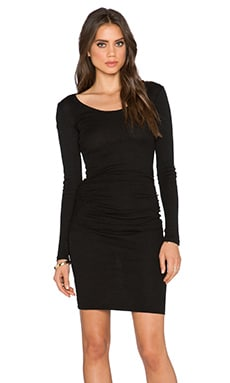 Long Sleeve Shirred Dress in Black