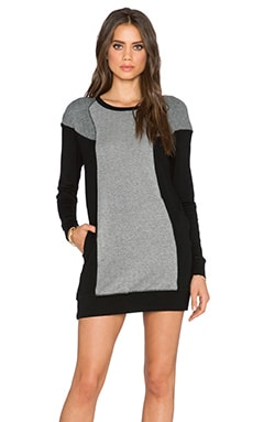 Michael Stars Long Sleeve Open Crew Neck Dress in Black