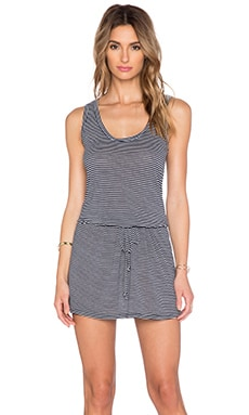 Michael Stars Drawstring Waist Tank Dress in Passport & White