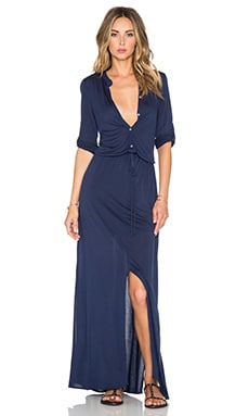 Michael Stars 3/4 Sleeve Maxi Shirtdress in Passport