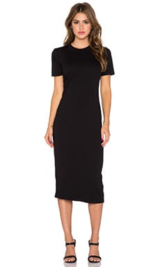 Michael Stars Short Sleeve Crew Neck Midi Dress in Black