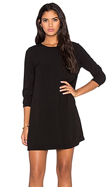 3/4 Sleeve Crewneck Mini Dress in Black