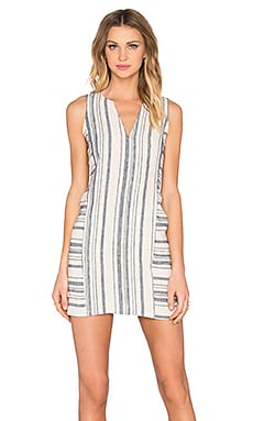 Michael Stars Sleeveless Split Neck Dress in Ivory & Chambray