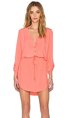 Michael Stars Mini Shirt Dress in Coral Sun
