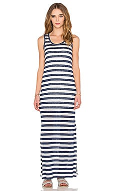 Sleeveless Scoop Maxi Dress in Nocturnal & White
