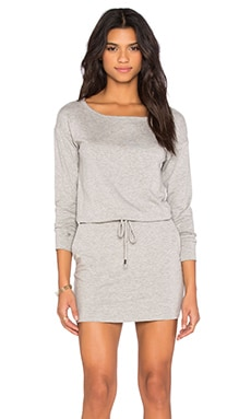 Off The Shoulder Drawstring Dress en Gris Chiné