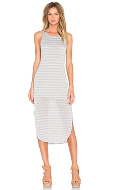Michael Stars Crew Neck Tank Dress in Heather Grey & White