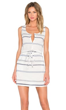 Michael Stars Scoop Neck Drawstring Dress in White & Nocturnal
