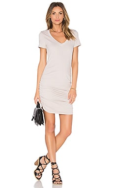 V Neck Rouched Shirt Dress in Stone