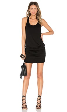 Michael Stars Scoop Neck Shirred Racerback Dress in Black