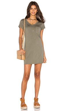 Michael Stars Short Sleeve V Neck Dress in Olive Moss
