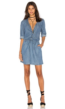 Michael Stars Roll Up Sleeve Shirt Dress in Medium Wash