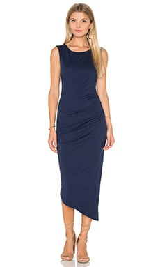 Michael Stars Ruched Tee Midi Dress in Nocturnal
