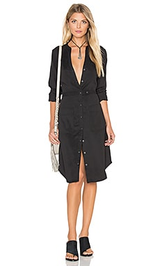 Utilitarian Shirt Dress in Black