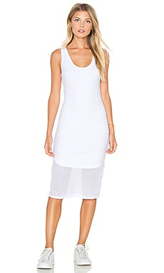 Mesh V Neck Tank Midi Dress in White