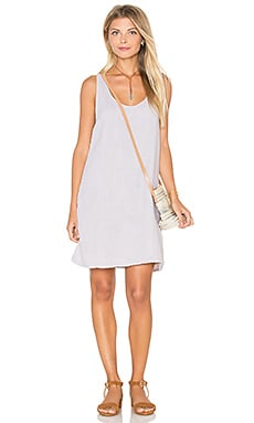 Double Gauze Crochet Racerback Tank Dress in Oyster
