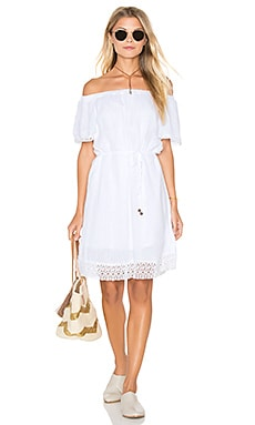 Double Gauze Lace Hem Off The Shoulder Dress in White