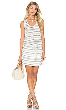 Stripe Linen Knit Drawstring Tank Dress in Oyster