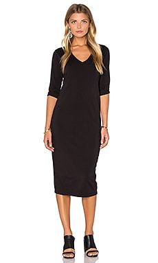 3/4 Sleeve V Neck Midi Dress en Noir