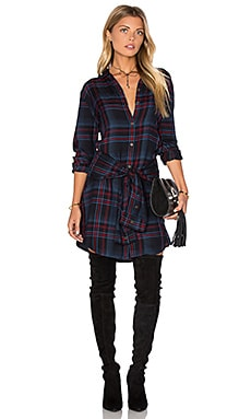 Michael Stars Tie Waist Shirt Dress in Nocturnal