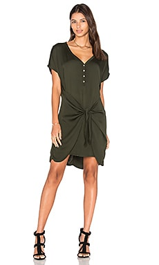 Henley Tie Waist Dress in Tarragon