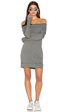 Off The Shoulder Mini Dress in Medium Heather Grey