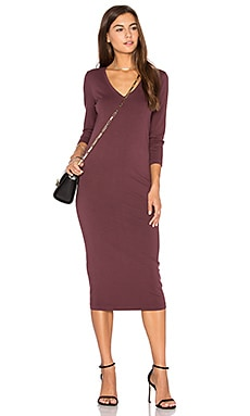 3/4 Sleeve V Neck Midi Dress en Rosewood