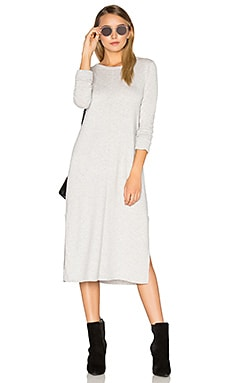 Cashmere Blend Slit Sweater Midi Dress in Heather Grey