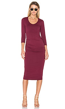Ruched Midi Dress in Pinot
