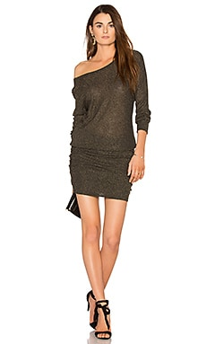 Shirred Mini Dress in Charcoal & Gold