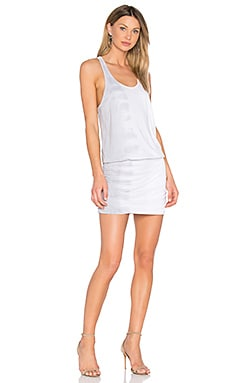 Shirred Mini Dress en Silver Fox Riverwash