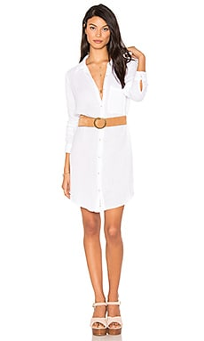 Button Shirt Dress in White